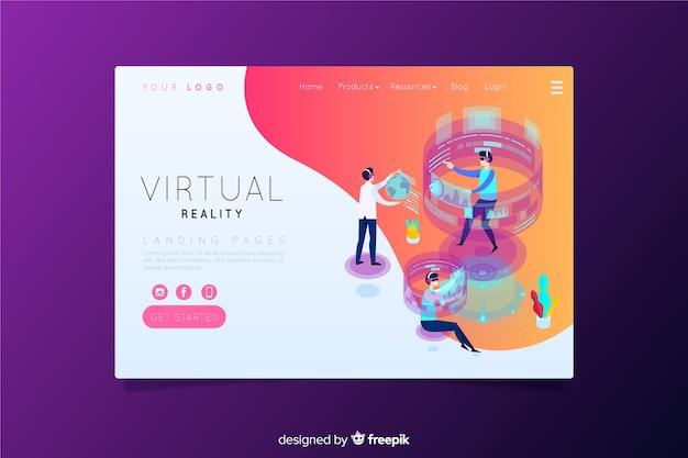 Página de destino da realidade virtual