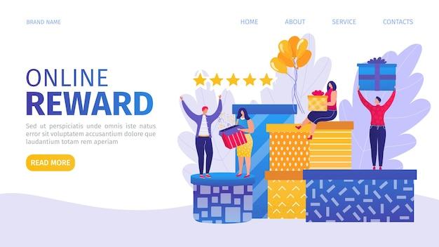 Página de destino da recompensa online