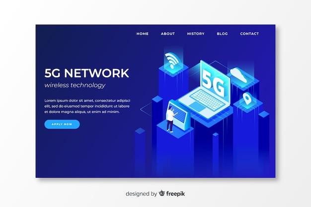 Página de destino da rede 5g em design isométrico