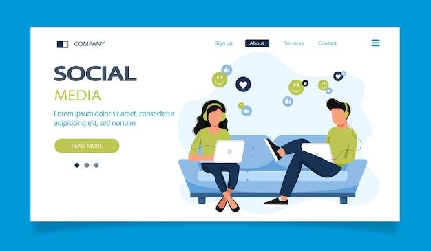 Página de destino da rede social