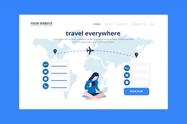 Página de destino da reserva de bilhetes de avião