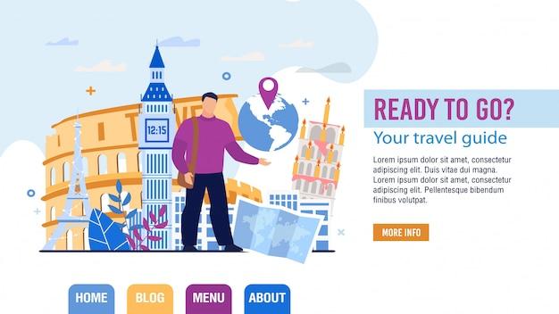 Página de destino da seleção do guia turístico e pessoal