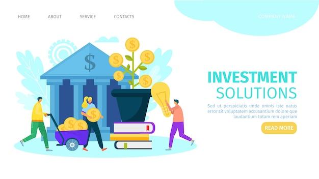 Página de destino da solução de investimento empresarial