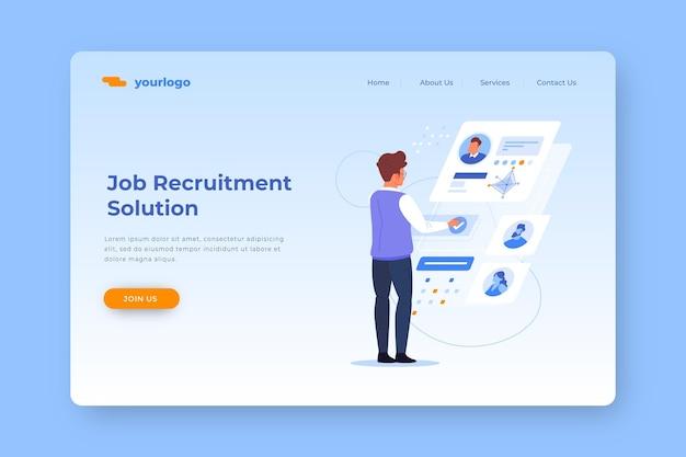Página de destino da solução de recrutamento de emprego