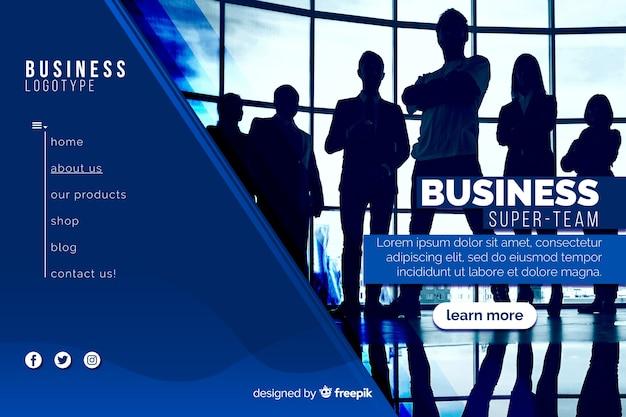 Página de destino da super equipe de negócios com foto