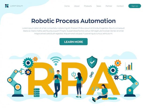 Página de destino da tecnologia de inovação de automação de processos robóticos da rpa