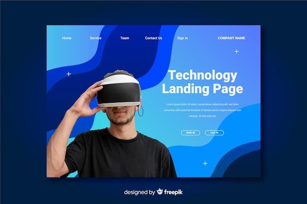 Página de destino da tecnologia de realidade virtual