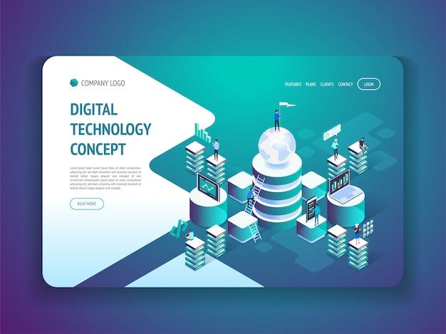 Página de destino da tecnologia digital isométrica