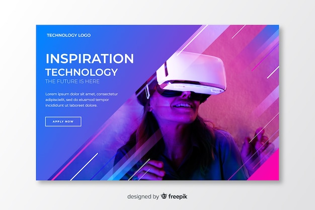 Página de destino da tecnologia futurista