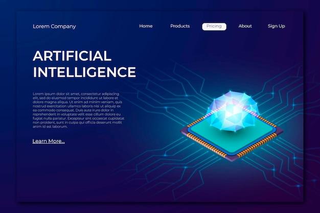 Página de destino da tecnologia isométrica moderna