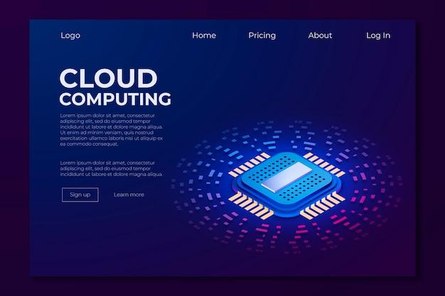Página de destino da tecnologia isométrica