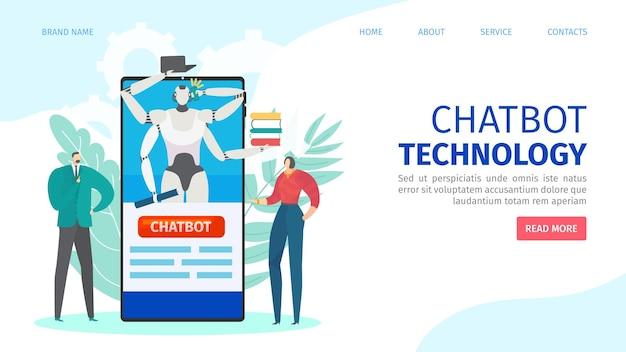 Página de destino da tecnologia online do chatbot