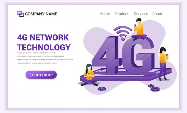 Página de destino da tecnologia sem fio da rede 4g.