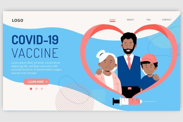 Página de destino da vacina contra coronavírus desenhada