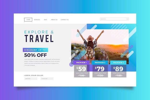 Página de destino da venda de viagens