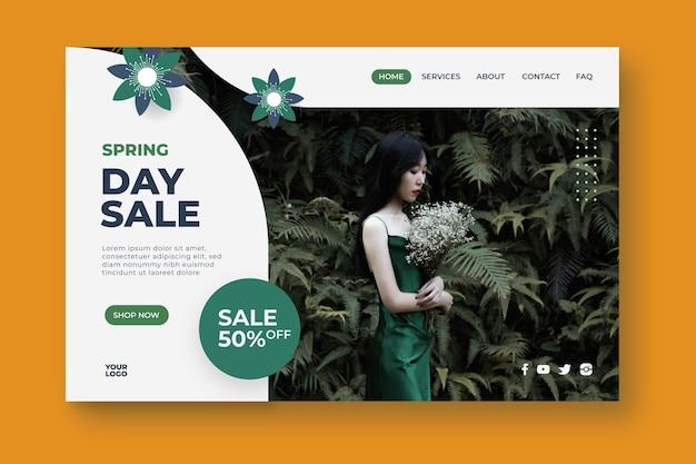 Página de destino da venda no dia da primavera