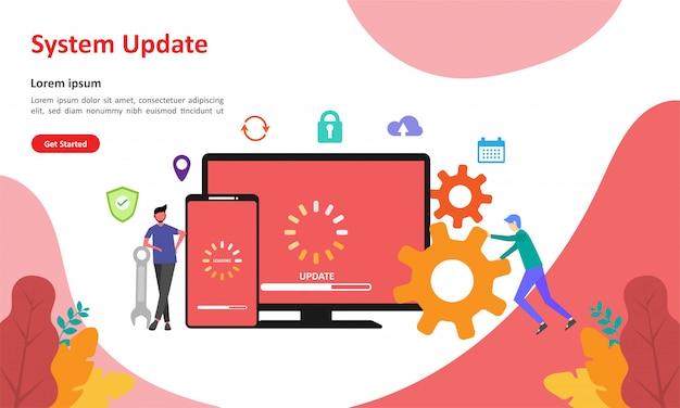 Página de destino da web de atualização do sistema
