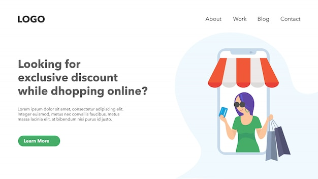 Página de destino da web de compras online