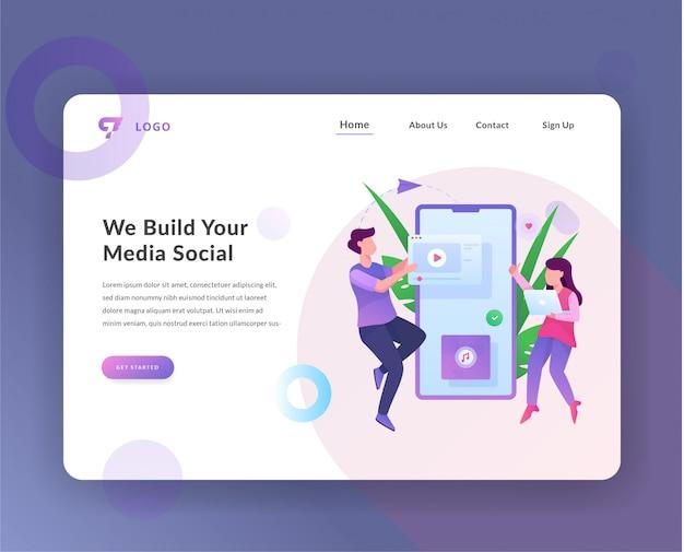 Página de destino da web de gerenciamento de mídia social
