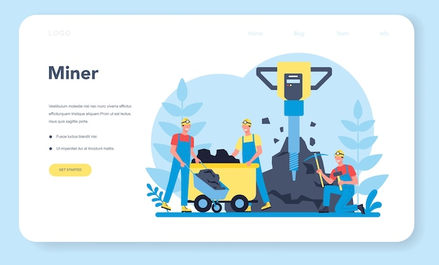 Página de destino da web de mineração de carvão ou minerais. trabalhador de uniforme e capacete com picareta, britadeira e carrinho de mão trabalhando no subsolo. profissão da indústria extrativa. ilustração vetorial