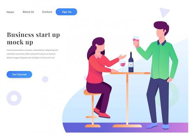 Página de destino da web de negócios bebida com amigo