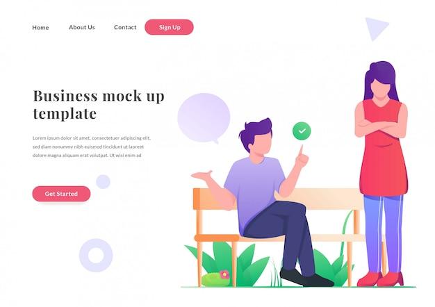 Página de destino da web de negócios casal louco