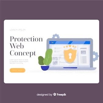 Página de destino da web de proteção