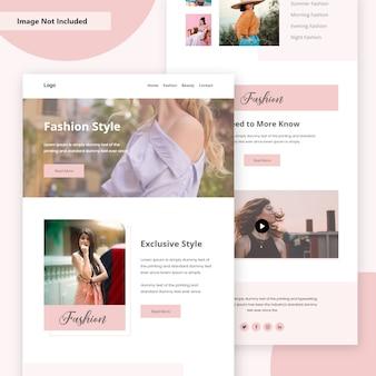 Página de destino da web de venda de estilo de moda nova modelo premium