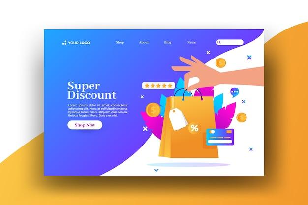 Página de destino da web de venda de sacolas de compras