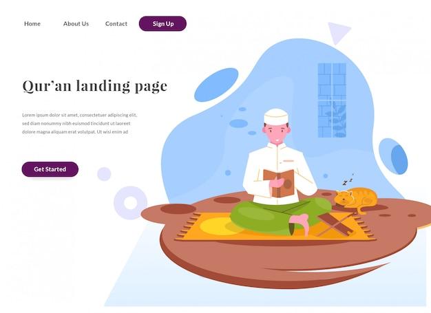 Página de destino da web, leia o alcorão