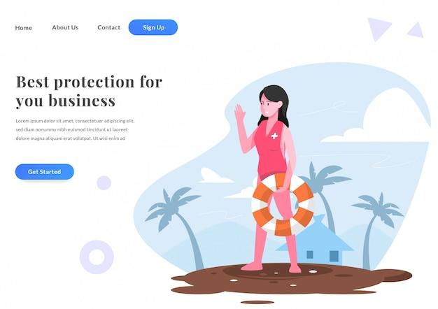 Página de destino da web mulher guarda de praia