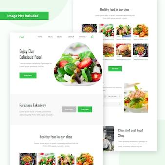 Página de destino da web para pedidos de alimentos on-line