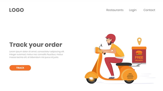 Página de destino da web para pedidos de comida on-line