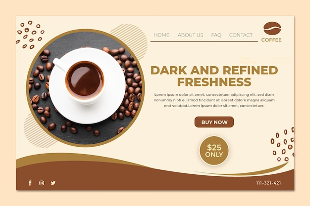 Página de destino da xícara de café e grãos