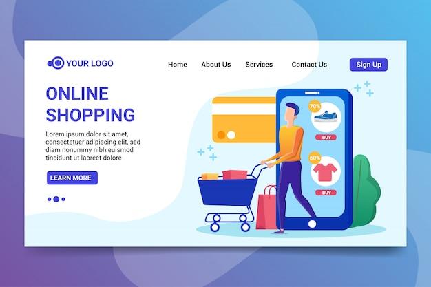 Página de destino das compras on-line