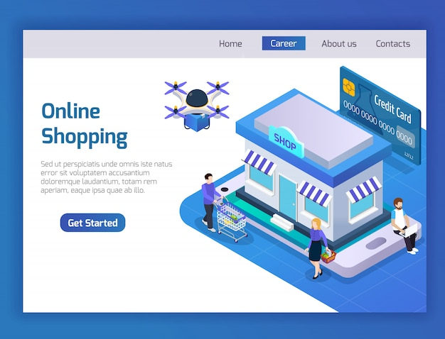 Página de destino das compras online
