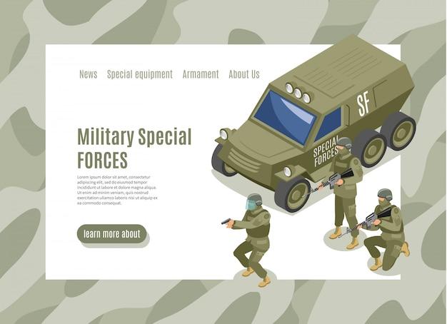Página de destino das forças especiais militares
