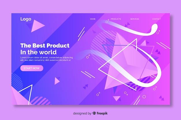 Página de destino das formas geométricas do melhor produto