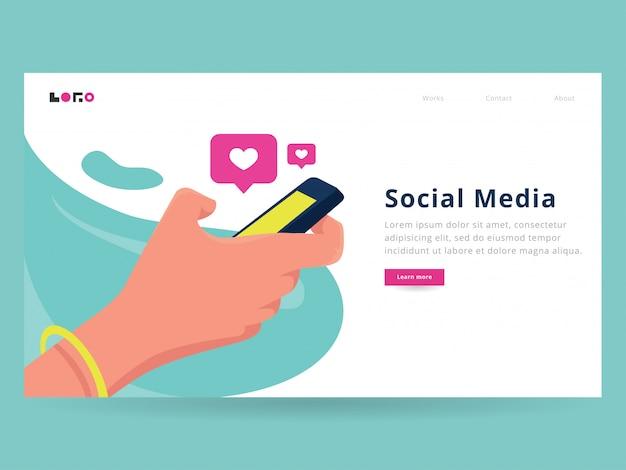 Página de destino das mídias sociais