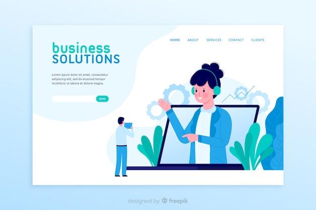 Página de destino das soluções de negócios