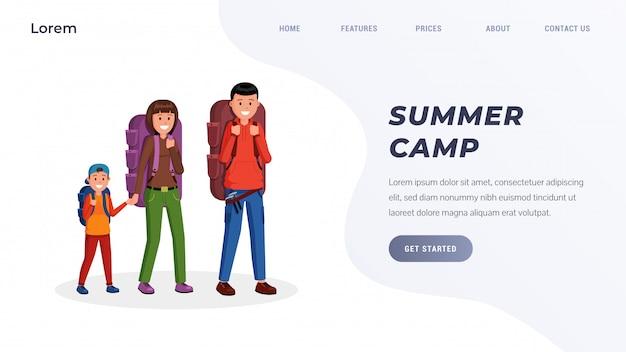 Página de destino de acampamento de verão familiar