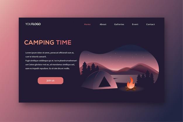 Página de destino de acampamento