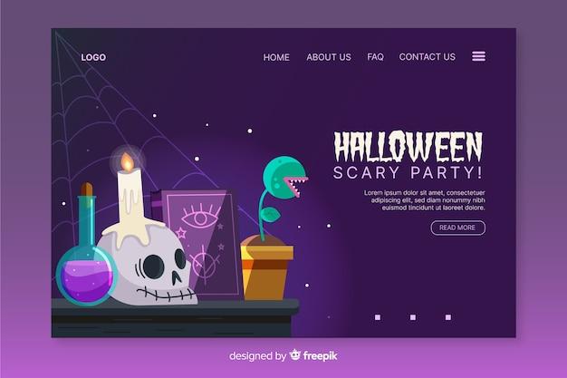 Página de destino de alquimia plana de halloween