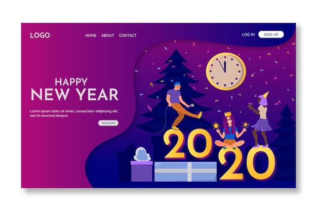 Página de destino de ano novo de design plano
