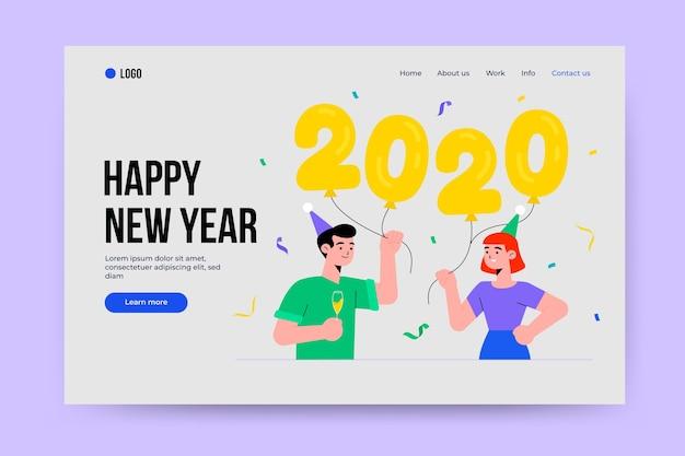 Página de destino de ano novo de modelo de design plano