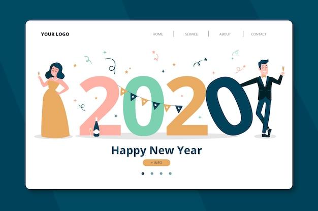 Página de destino de ano novo desenhada de mão