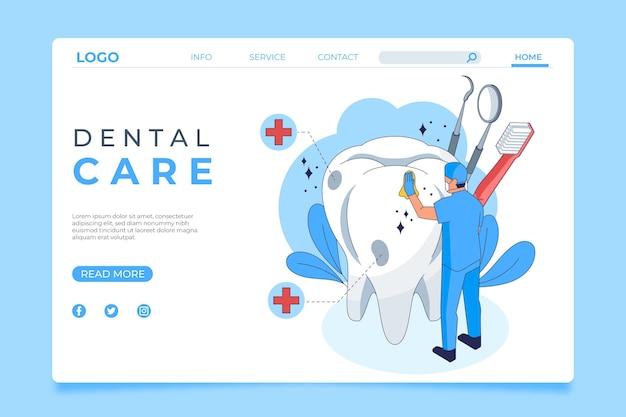 Página de destino de atendimento odontológico isométrico