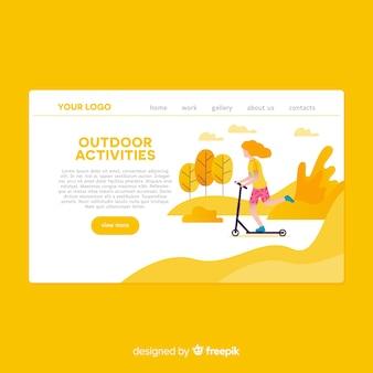 Página de destino de atividades ao ar livre desenhada mão
