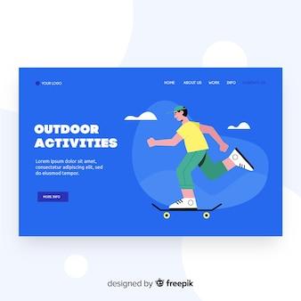 Página de destino de atividades ao ar livre