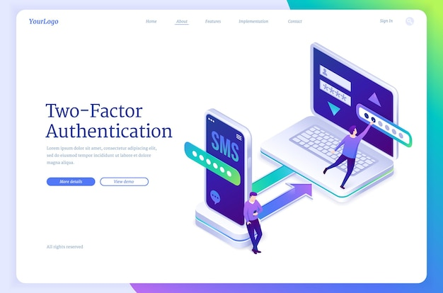 Página de destino de autenticação de dois fatores